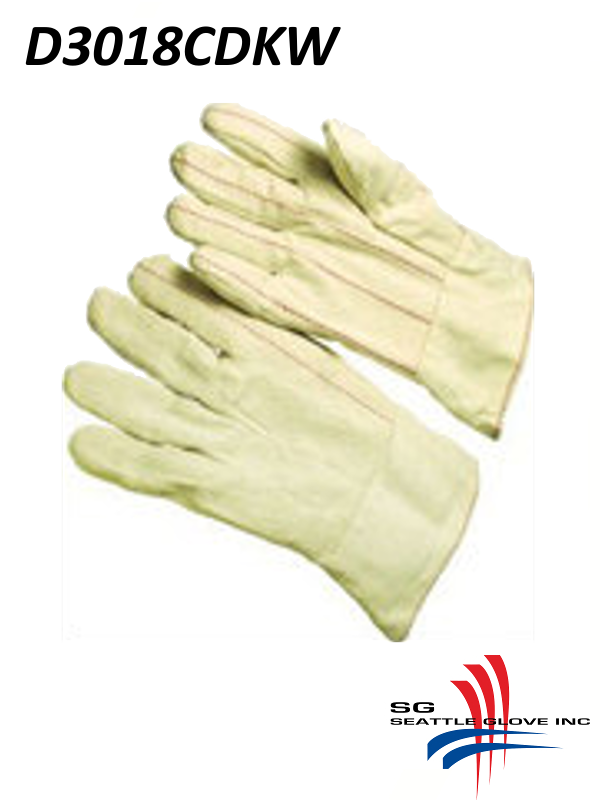 Seattle Glove D3018CDKW, Cotton Corduroy Double Palm Glove, Nap-In with Bleached Knit Wrist/$ per Dozen