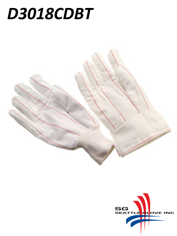 Seattle Glove D3018CDBT, Cotton Corduroy Double Palm Glove, Nap-In with Band Top, Bleached White/$ per Dozen