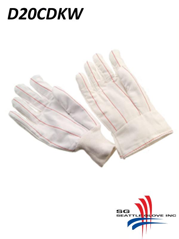 Seattle Glove D20CDKW, 20 Ounce Cotton Corduroy Double Palm Glove with Knit Wrist, Natural White Cotton/$ per Dozen