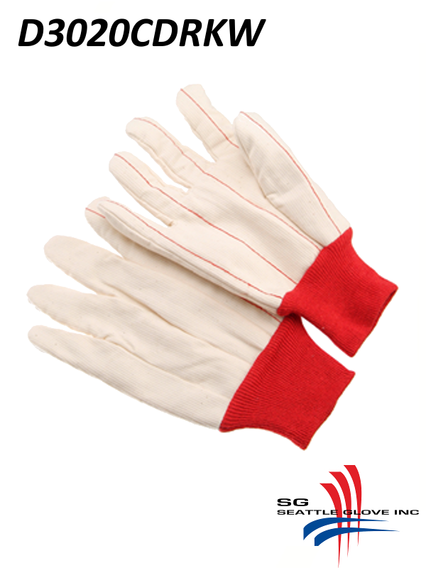 Seattle Glove D3020CDRKW , 20 Ounce Cotton Corduroy Double Palm Glove with RED Knit Wrist, Natural White Cotton Glove/$ per Dozen