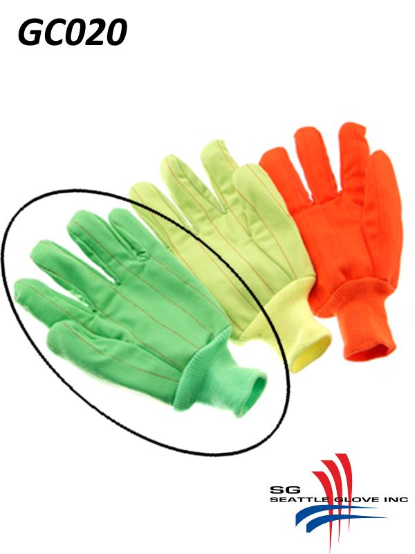 Seattle Glove GC020, Hi-Vis Fluorescent GREEN Corduroy, Double Palm, 100% Cotton Gloves with Knit Wrist/$ per Dozen