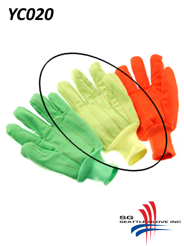 Seattle Glove YC020, Hi-Vis Fluorescent YELLOW Corduroy, Double Palm, 100% Cotton Gloves with Knit Wrist/$ per Dozen