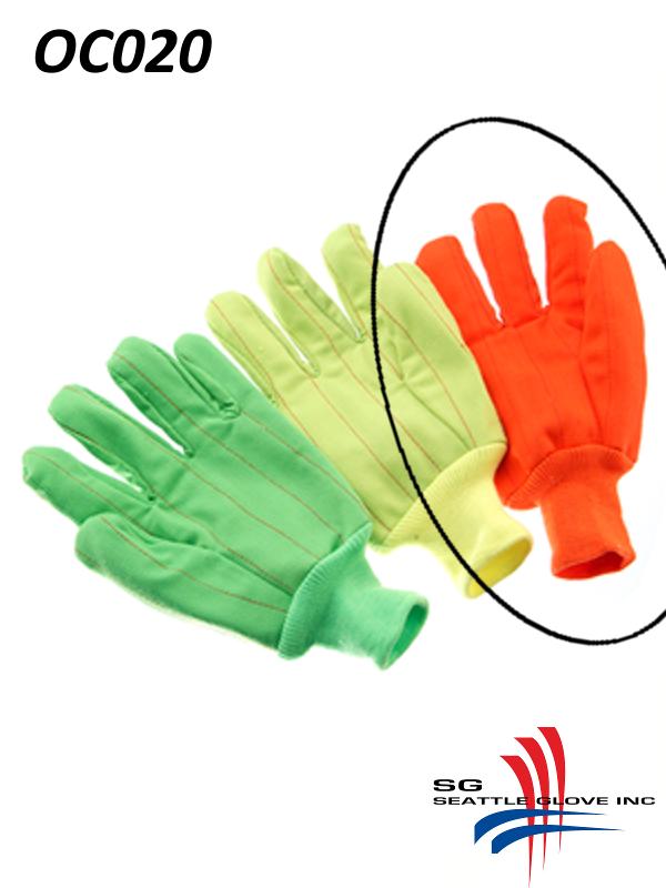 Seattle Glove OC020, Hi-Vis Fluorescent ORANGE Corduroy, Double Palm, 100% Cotton Gloves with Knit Wrist/$ per Dozen