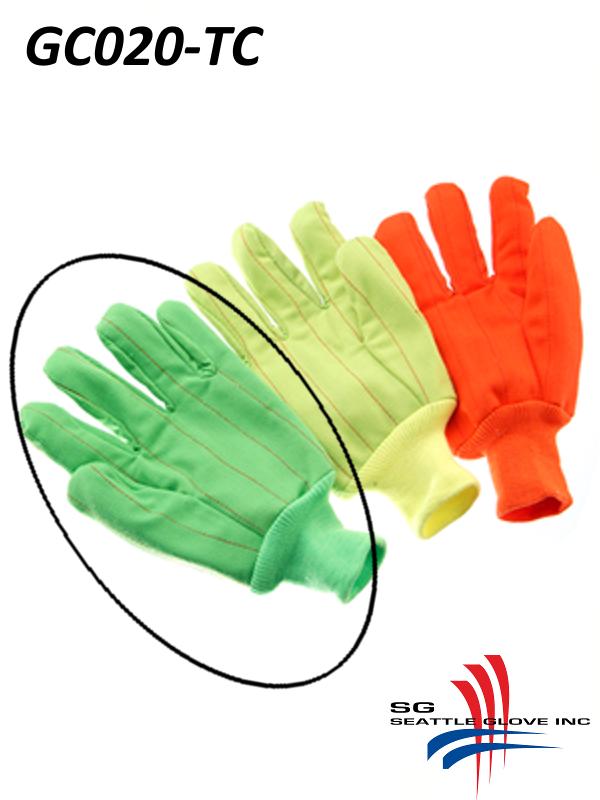 Seattle Glove GC020-TC, Hi-Vis Fluorescent GREEN Corduroy, Double Palm, Poly/Cotton Gloves with Knit Wrist/$ per Dozen