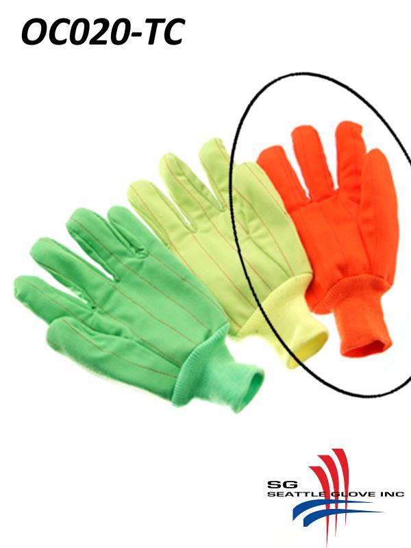 Seattle Glove OC020-TC, Hi-Vis Fluorescent ORANGE Corduroy, Double Palm, Poly/Cotton Gloves with Knit Wrist/$ per Dozen