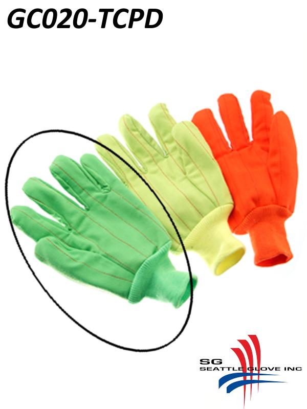 Seattle Glove GC020-TCPD, Hi-Vis Fluorescent GREEN Corduroy, Double Palm, Poly/Cotton Gloves with Black Dots and Knit Wrist/$ per Dozen