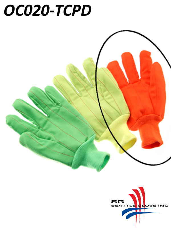 Seattle Glove GC020-TCPD, Hi-Vis Fluorescent GREEN Corduroy, Double Palm, Poly/Cotton Gloves with Black Dots and Knit Wrist/$ per Dozen  (CLONE)