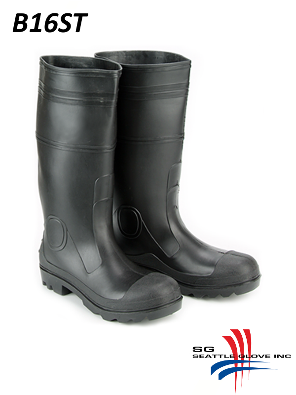 """Seattle Glove B16ST, Unlined 16"""" Black PVC Boots with Insole and Steel Toe/$ per Pair, Sold per Case of 6"""