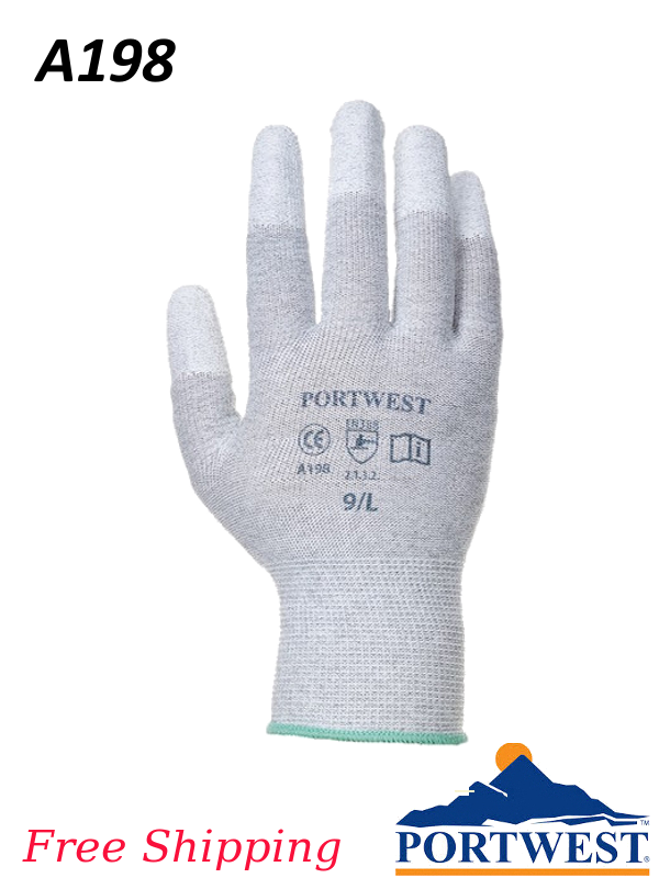 Portwest A198, Antistatic Polyuerthane Coated Fingertip Glove/SHIPPING INCLUDED/$ per Pair