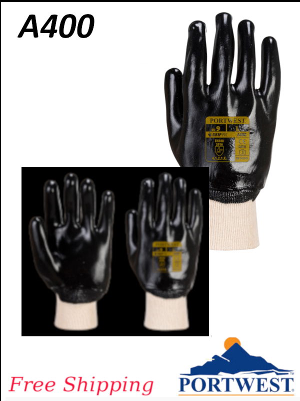 Portwest A400, PVC Dipped Glove with Knit Wrist/FREE SHIPPING/$ per Each