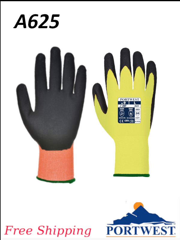 Portwest A625, Viz-Tex, ANSI Cut Level A4 Resistant Glove/FREE SHIPPING/$ per Pair
