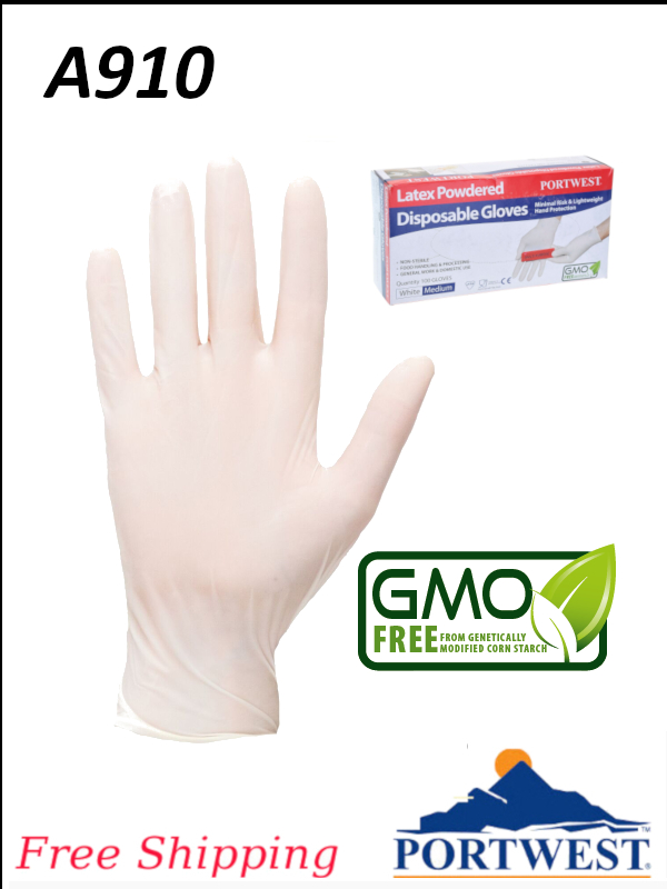 Portwest A910, Powdered Latex Disposable Gloves with Excellent Dexterity and Strength/FREE SHIPPING/$ per Box of 100