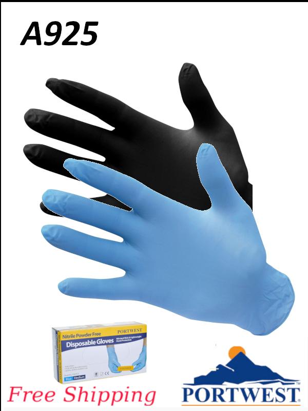 Portwest A925, Nitrile Powder Free Disposable Glove/FREE SHIPPING/$ per Box of 100