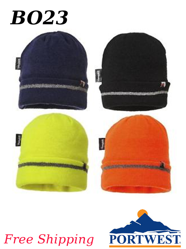 Portwest B023, Knit Cap with Reflective Stripe Trim, Insulatex Lining/FREE SHIPPING/$ per Each