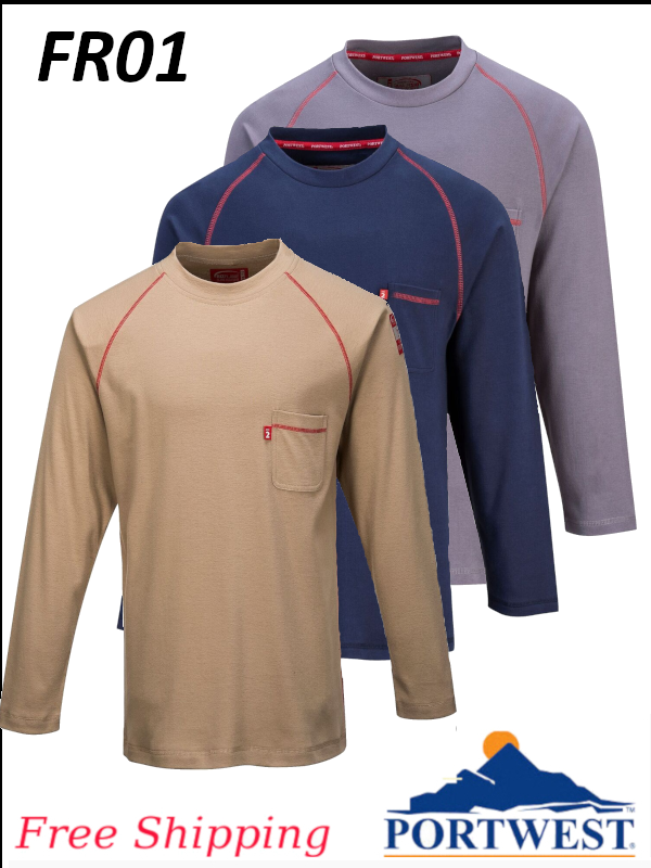 Portwest FR01, Flame Resistant, BizFlame, Crew Neck, Long Sleeve Shirt/SHIPPING INCLUDED/$ per Shirt