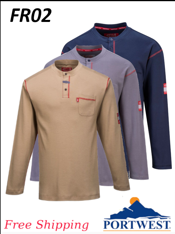 Portwest FR02, Flame Resistant, BizFlame, Henley Button Down Crew Neck, Long Sleeve Shirt/SHIPPING INCLUDED/$ per Shirt