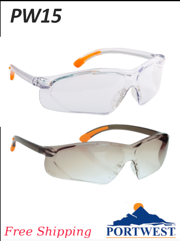 Portwest PW15,  Fossa Safety Glasses - Anti-Scratch and Anti-Fog Coating/FREE SHIPPING/$ per Pair