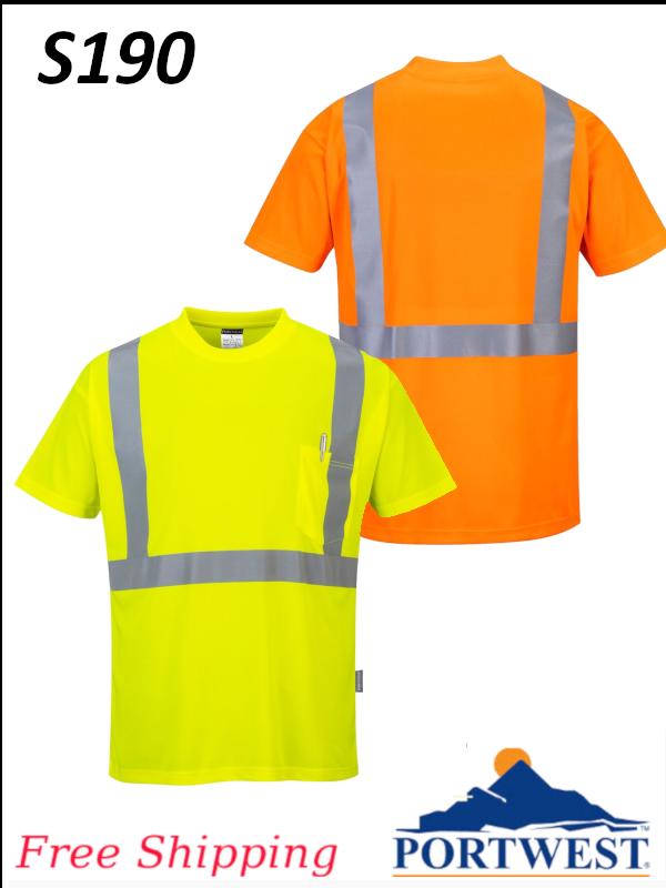 Portwest S190, Hi-Vis Pocket T-Shirt/SHIPPING INCLUDED/$ per Shirt