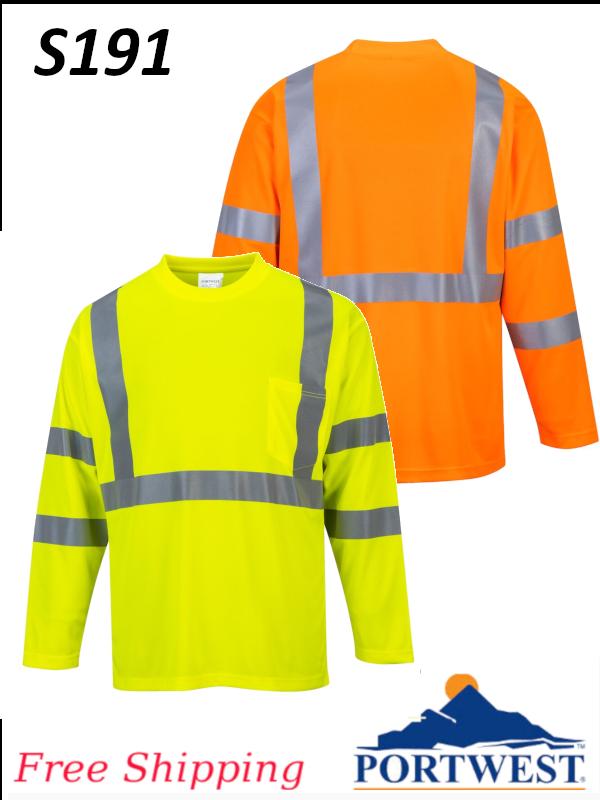 Portwest S191, Hi-Vis, Long Sleeve Pocket T-Shirt/SHIPPING INCLUDED/$ per Shirt