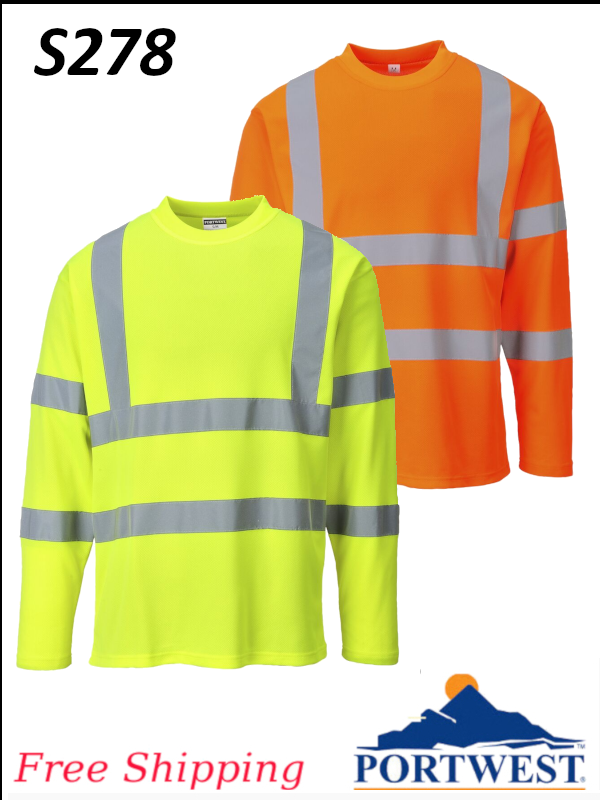 Portwest S278, Cotton Comfort Long Sleeve T-Shirt/SHIPPING INCLUDED/$ per Shirt