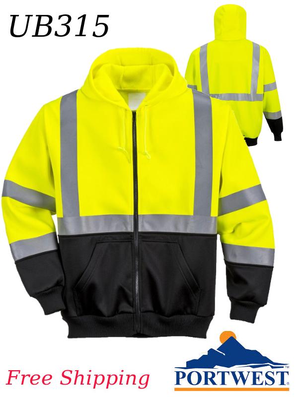 Portwest UB315, Hi-Vis Two-Tone Zipped Hoodie, FREE SHIPPING/$ per Shirt