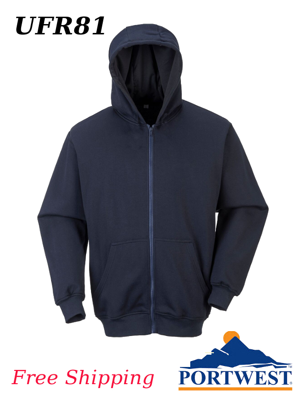 Portwest UFR81, Flame Resistant, Zippered Front, Hooded Sweatshirt/SHIPPING INCLUDED/$ per Shirt