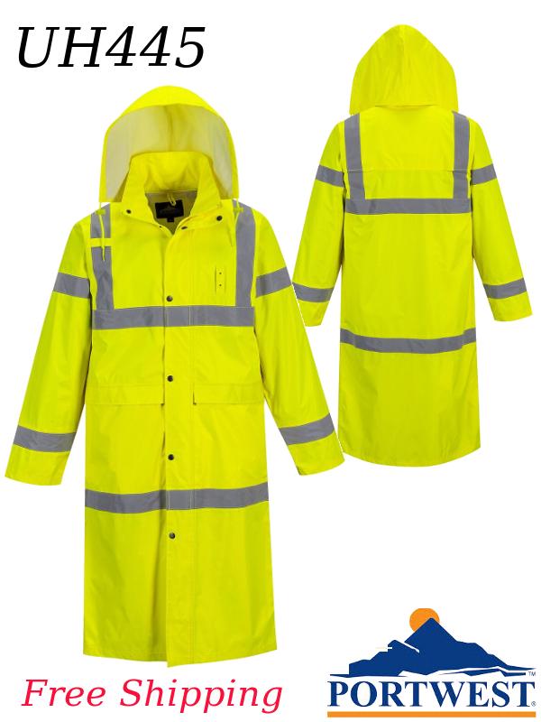 """Portwest UH445, Hi-Vis Classic Contrast Rain COAT, 48"""" Length/FREE SHIPPING/$ per Coat"""