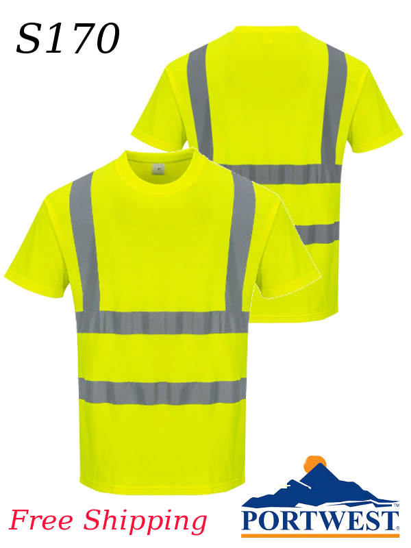 Portwest S170, Hi-Vis Cotton Short Sleeved T-Shirt/SHIPPING INCLUDED/$ per Shirt