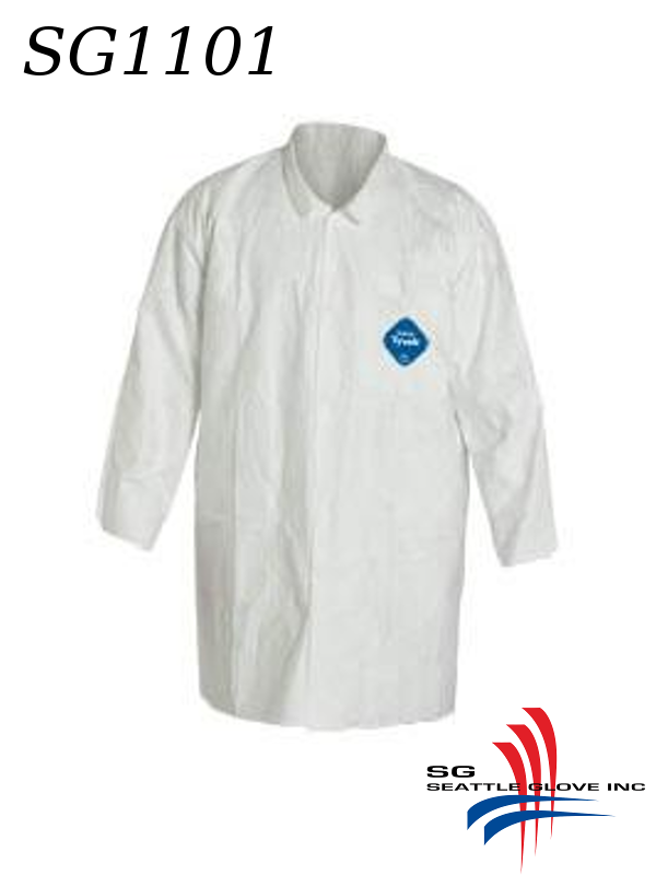Seattle Glove SG1101, Tyvek Lab Coat with Snap Front and 2 Pockets/$ per Case of 30