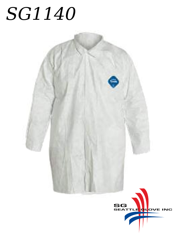 Seattle Glove SG1140, Tyvek Lab Coat with Snap Front and NO Pockets/$ per Case of 30