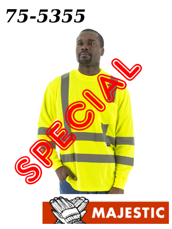 Majestic 75-5355 Special, Hi-Vis Long Sleeve Shirt with Double Stripe, ANSI / ISEA Class 3 Type R Standard/$ per Shirt