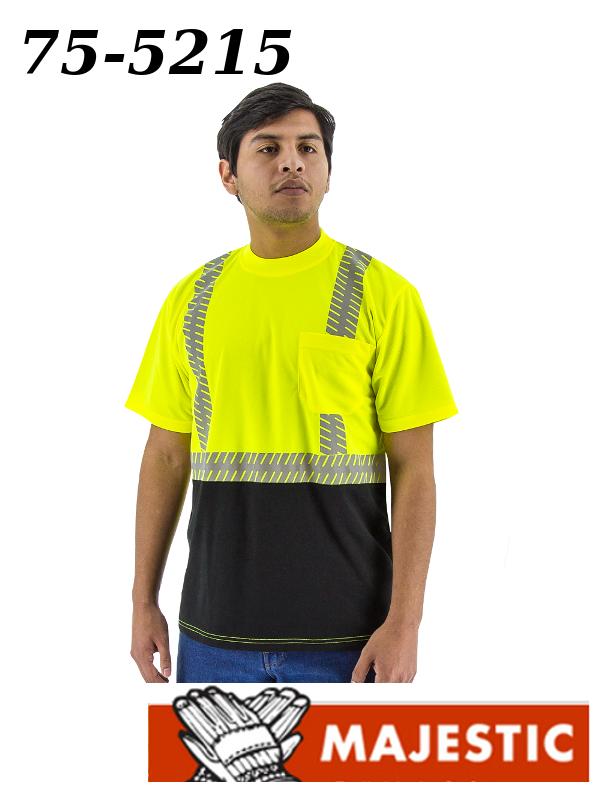 Majestic 75-5215, Hi-Vis Short Sleeve Shirt with Reflective Chainsaw Striping, ANSI 2/$ per Shirt