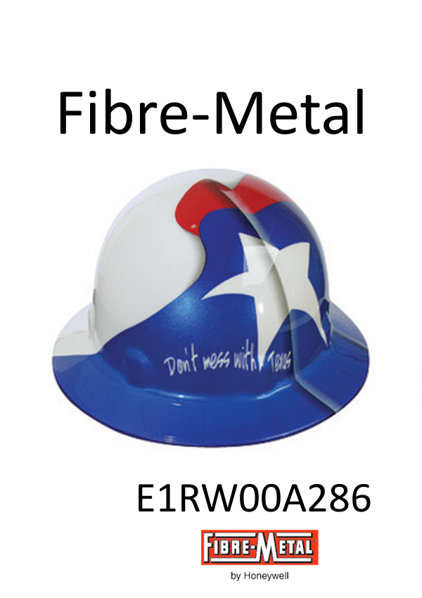 Fibre-Metal E1RW00A286, Full Brim Hard Hat with Texas Full Graphics, SuperEight Rachet Suspension/$ per Case of 16 ONLY