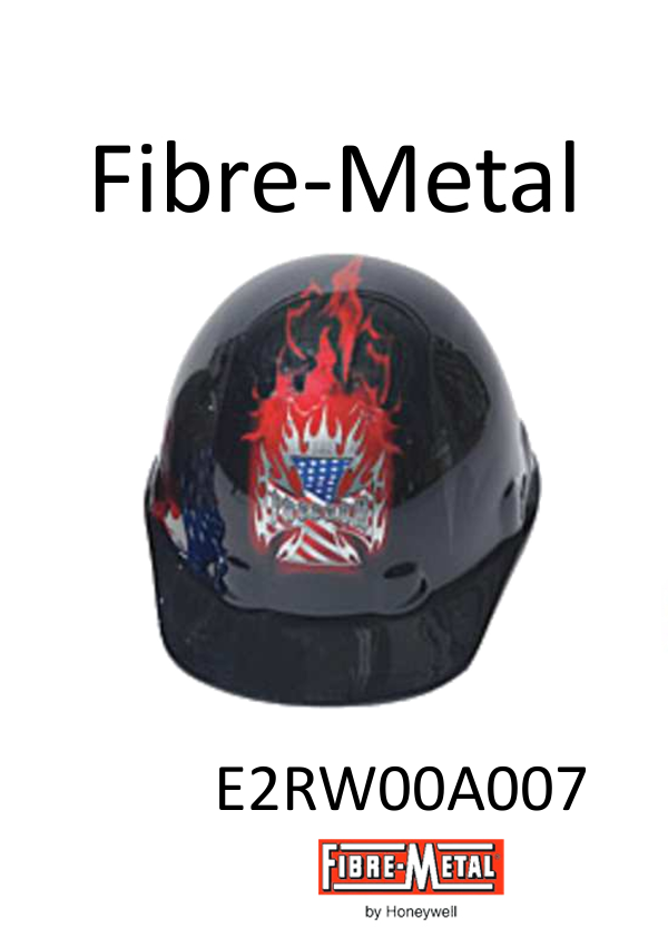 Fibre-Metal E2RW00A007, Cap Style Hard Hat with Burning Freedom Graphic, SuperEight Rachet Suspension/$ per Case of 20