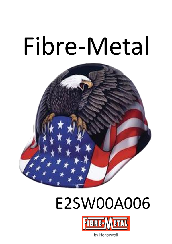 Fibre-Metal E2SW00A006, E2 Thermoplastic Cap Style Hard Hat With 3 S SwingStrap 8 Point Ratchet Suspension And Spirit Of America Graphics/$ per 20 Hats
