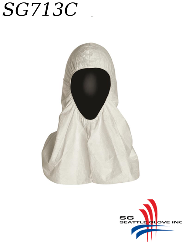 Seattle Glove SG713C, Coverall Assessory, Tyvek Hood with Elastic around Face, Covering Shoulders/$ per Case of 100