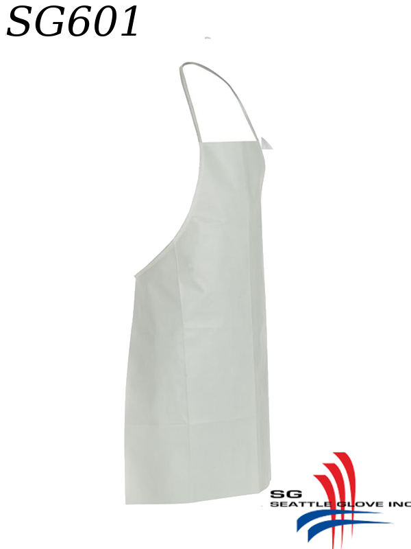 "Seattle Glove SG601, White Bib Apron, 28"" x 36"", Neck Loop, Waist Ties and Bound Seams/$ per Case of 100"