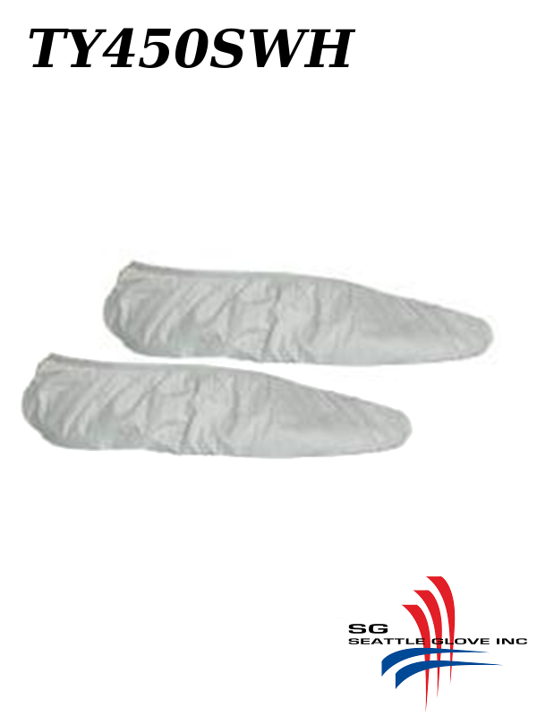 Seattle Glove TY450SHW, White Tyvek Shoe Cover with Elastic Opening and Serged Seams/$ per Case of 200