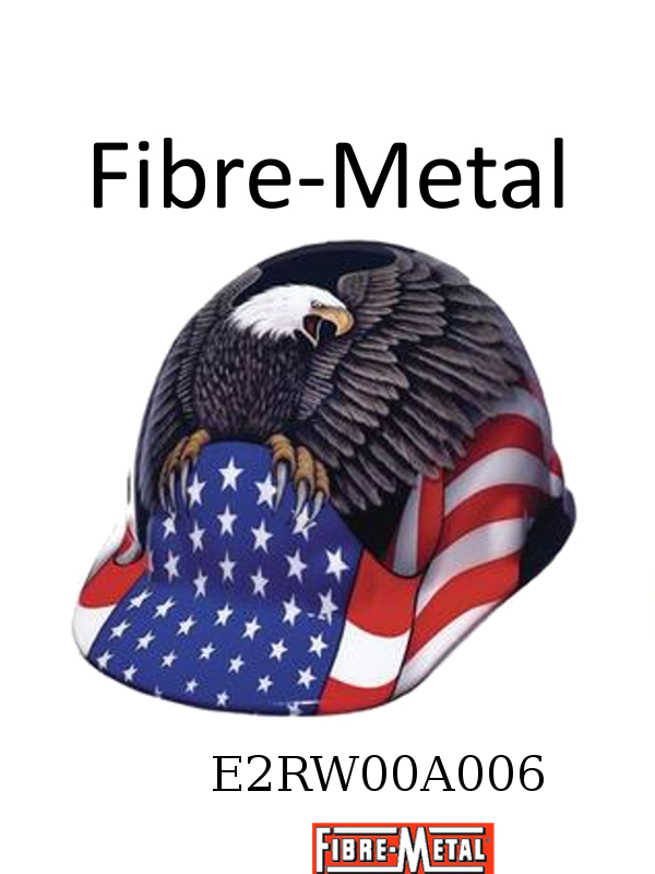 Fibre-Metal E2RW00A006,White E2 Thermoplastic Cap Style Hard Hat With 8 Point Ratchet Suspension And Spirit of America Full Graphics/$ per Each