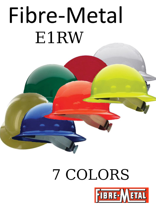 Fibre-Metal E1RW, E1 Thermoplastic Full Brim Hard Hat With 8 Point Ratchet Suspension/7 Color Options