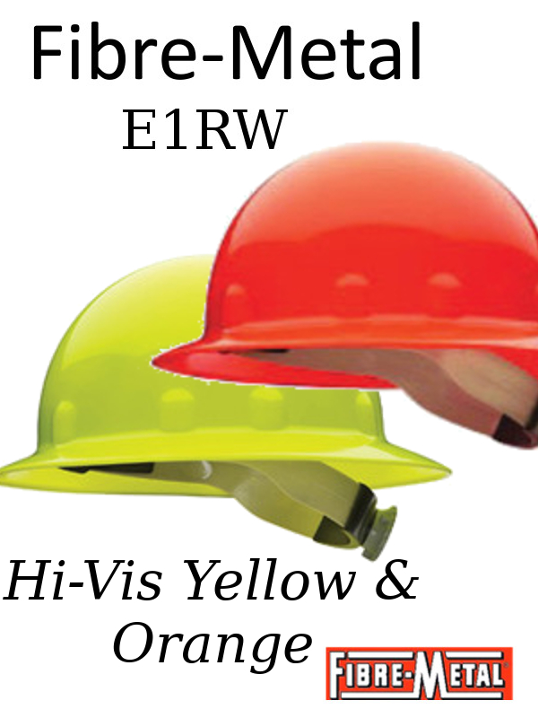 Fibre-Metal E1RW, Hi-Vis Yellow or Hi-Vis Orange, E1 Thermoplastic Full Brim Hard Hat With 8 Point Ratchet Suspension/2 Hi Vis Colors