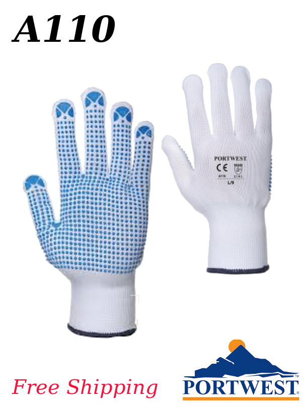 Portwest A110, Nylon Polka Dot Glove/FREE SHIPPING/$ per Pair