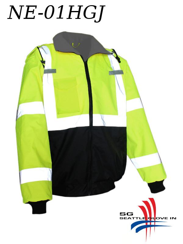 Seattle Glove NE-01HGJ, Hi-Vis Bomber Jacket, Grey Lining, Radio Straps and Pocket/$ per Jacket