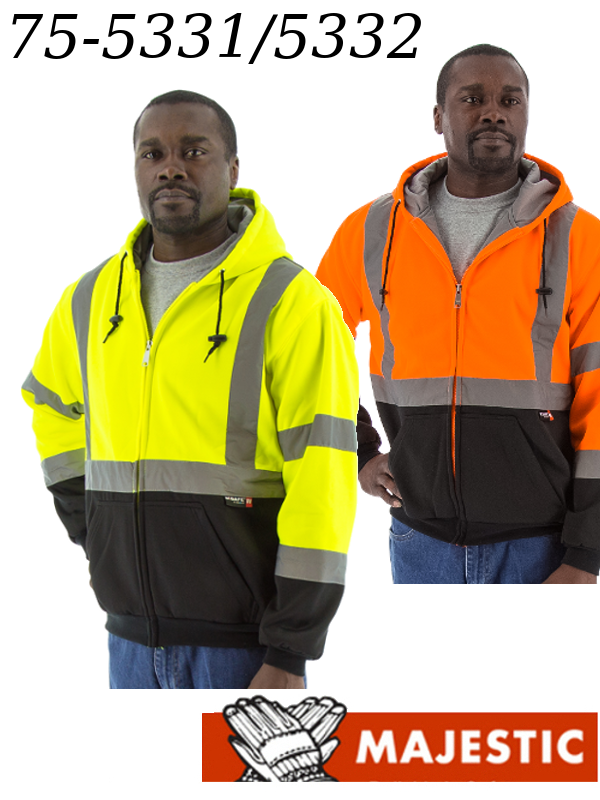 Majestic 75-5331/75-5332, Hi-Vis Heavy Weight Sweatshirt with Zipper Front and Teflon Fabric Protector - Class ANSI 3