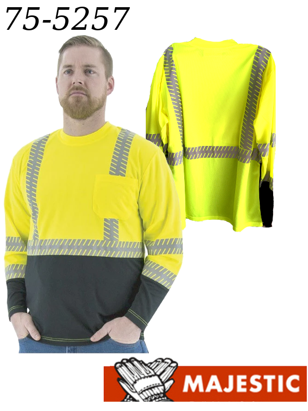 Majestic 75-5257, Hi-Vis Long Sleeve Shirt with Reflective Chainsaw Striping, ANSI 2/$ per Shirt
