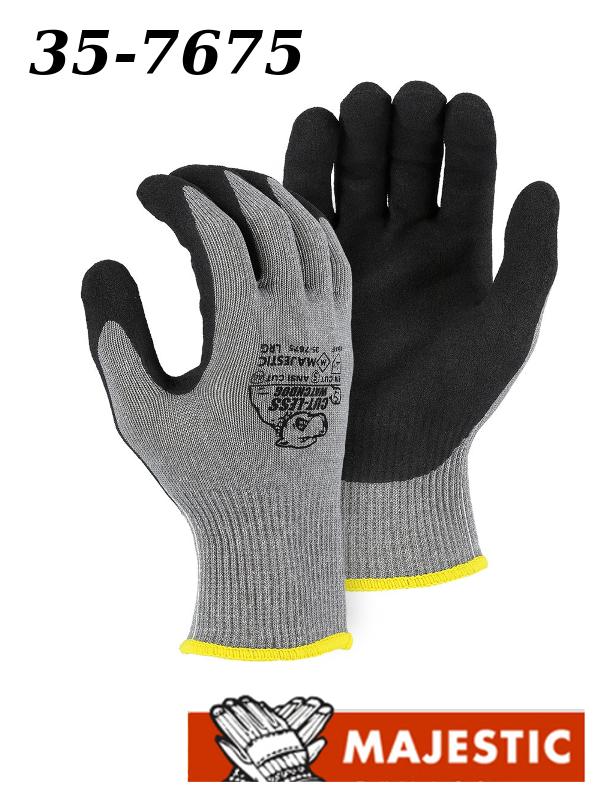 Majestic 35-7675, Cut-Less Watchdog Knit Glove w Sandy Nitrile Palm/$ per Dozen