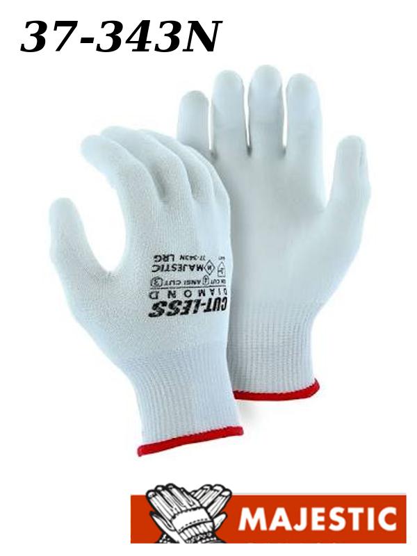 Majestic 37-343N, Dyneema Cut-Less Diamond Cut Resistant Gloves, 13 Gauge Knit, White Polyurethane Palm Coated, ANSI Cut Level 3/$ per Dozen