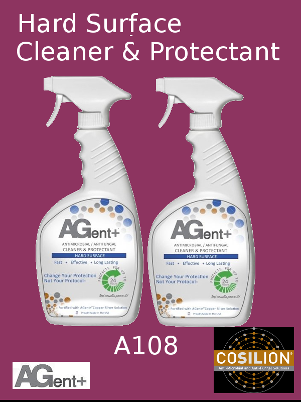A108, AGent+ Hard Surface Cleaner & Protectant - Twin Bottles (2) 32oz Spray Bottle