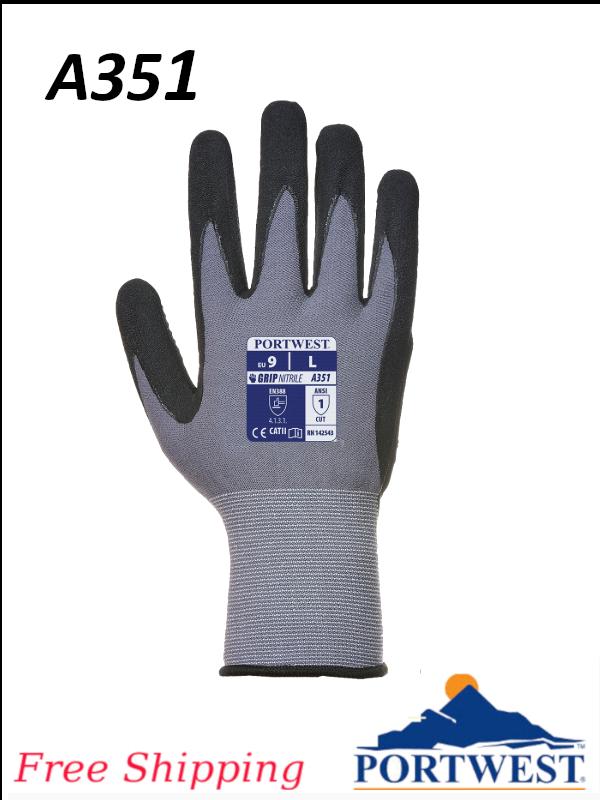 Portwest A351, DermiFlex Plus Polyurethane/Nitrile Foam Glove/FREE SHIPPING