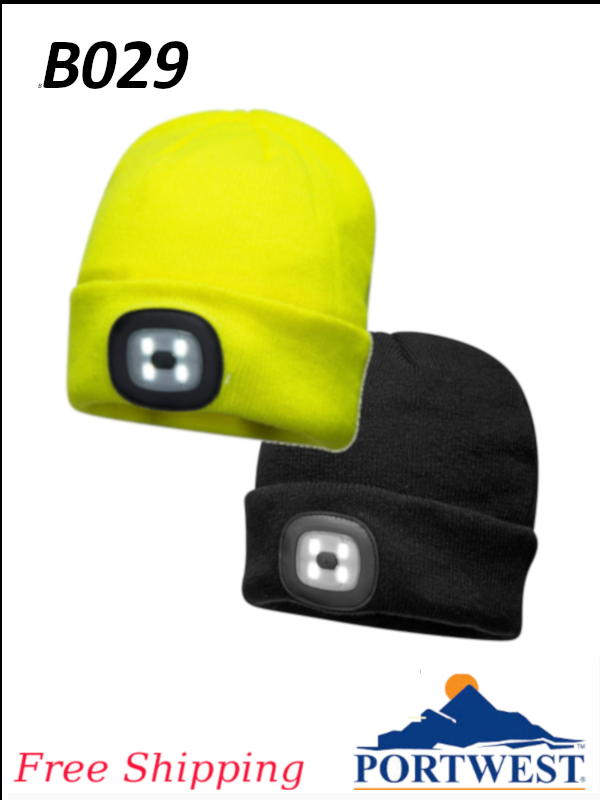 Portwest B029, Beanie LED Head Light USB Rechargeable/FREE SHIPPING/$ per Each